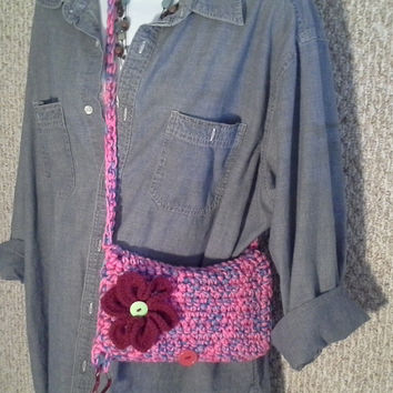 Road Trip Clutch Pouch Purse Flight Bag Vacation Tote Crochet Wristlett Pink Purple Gift for Her Restroom Hygiene Personal Carryall