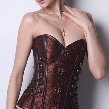 Brown Steampunk Boned Corset with Chain Stud Detail LC5332 = 1930150020