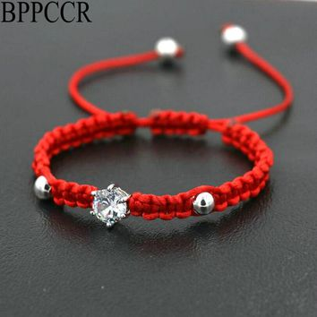 BPPCCR Red Rope Thread String Braided Bracelets Women Girls Silver Color Crystals AAA Zircon Lovers Chakra Bracelet Pulsears