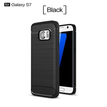 2017 Carbon Brushed Rugged Armor Phone Cover Soft TPU Mobile Phone Shell Anti-drop Anti-knock Phone Case for Samsung Galaxy S7