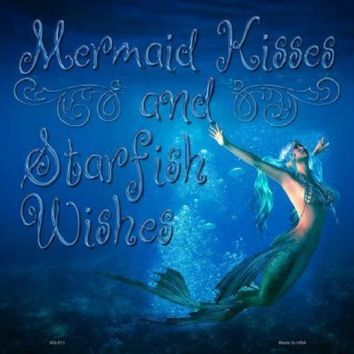 Blue Ocean Mermaid Kisses Starfish Wishes 12 inch by 12 inch  Sign