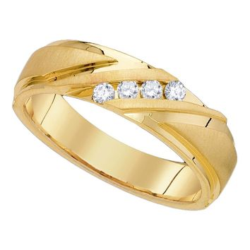 10k Yellow Gold Mens Round Diamond Channel-set Wedding Anniversary Band Ring 1/6 Cttw