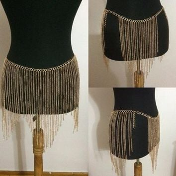 "33"" waist gold chain 10"" fringe tassel belt skirt body chain"