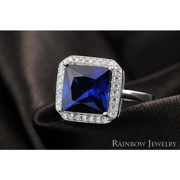Stunning Solid 925 Sterling Silver Natural 6ct Blue Sapphire Ring