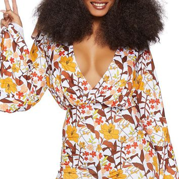 Boogie Nights Yellow Brown Floral Pattern Long Bell Sleeve Cross Wrap V Neck Bodycon Romper Halloween Costume