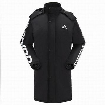 Adidas Women Men Casual Fashion Print Cardigan Long Sleeve Thickened Cotton-padded Clothes Middle Long Section Coat Hoodie Windbreaker Black