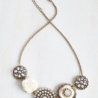 Statement Rosette Quintet Necklace in White by ModCloth