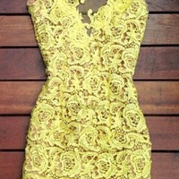 Yellow Hollow Lace Mini dress