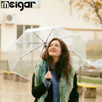 Full Automatic Transparent Umbrellas 3 Folding Clear Windproof  Umbrellas Rain Women Gift Sunny Rainy Umbrellas