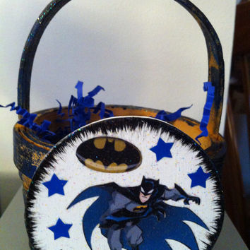 Batman Easter basket or gift card holder perfect for Valentine's Day, Easter, birthday, Christmas or just because