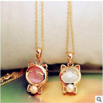 [Crazy 2 pcs/set(white/pink) fashion sweet Statement Cute Lucky Cat Opal Short pearl bow Pendant Necklace jewelry for women [7955907143]