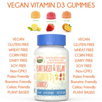 VEGAN VITAMIN D3 Gummy (Plant Based, Vegan & Paleo Friendly) 1-2 Month Supply