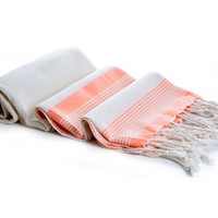 Bamboo Turkish Towel / Blanket Tangerine Multi Stripe