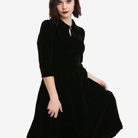 Black Half-Sleeve Fit & Flare Velvet Dress