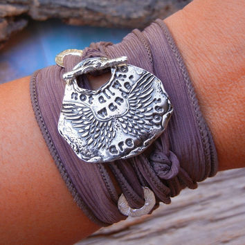 Steampunk Not All Who Wander Silk Wrap Bracelet,