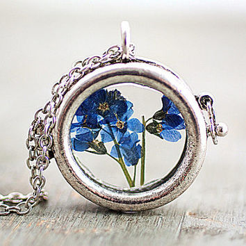 ON SALE Window locket necklace with real dried Forget me not. Antique silver colored chain. Free shipping.