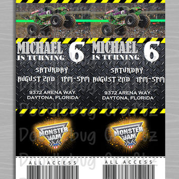 Monster Truck! Monster Jam! Birthday Party Invitations! Custom Personalized Invitations. 24hr turn around. Choose Your Size 4x6 or 5x7
