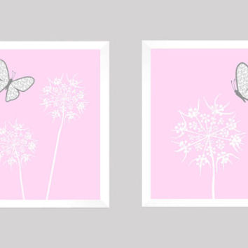 White Floral with Gray Butterflies on Baby Pink CUSTOMIZE YOUR COLORS, 8x10 Prints, Nursery Decor Print Baby Room Bathroom Livingroom Art