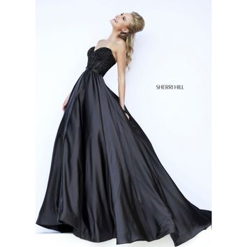 Sherri Hill 32084 Strapless Beaded Satin Evening Gown