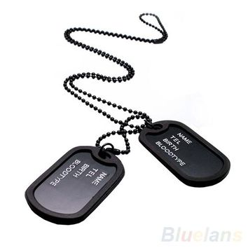 Black 2 Dog Tags Chain Mens  Pendant Necklace