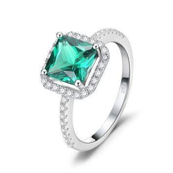 JewelryPalace Square 1.4ct Simulated Nano Russian Emerald Ring 925 Sterling Silver