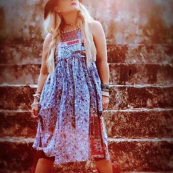 Patchwork sundress, Junk Gypsy Hippie chic woodstock sundress, 70's retro style bohemian festival dress, Boho dress, True rebel clothing