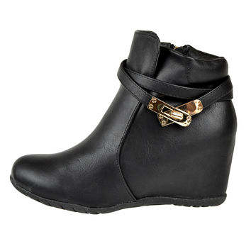 Womens Ankle Boots Strappy Buckle Accent Hidden High Heel Shoes Black SZ