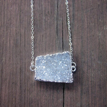 Unique Silver Druzy Necklace, White Druzy, Geode, Raw Stone Necklace, Titanium Druzy, Stone Necklace, Necklace, Gift for Her, Gift, Druzy,
