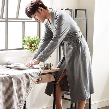 2017 winter robe male with hooded knight rob dressing gown empire long thick men's bathrobe nightgown