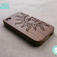 Wood iPhone 4S case - Sun iPhone 4 case - Retro iPhone 4S case - Natural Wood case - Wood iPhone case - Wooden iPhone cover - Walnut - 11016