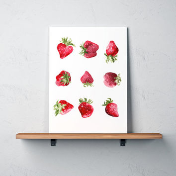 Kitchen decor Food painting Strawberry poster Watercolor print