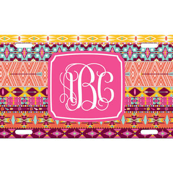 Custom Personalized License Plate Car Tag Pink Aztec Tribal Vine Monogram Sorority 16th Birthday Girls Gift Aluminum Front Car Plate LP-1004