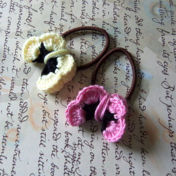Crochet Butterfly Hair Ties. Set of Two Handmade Crochet Butterfly Hair Ties.