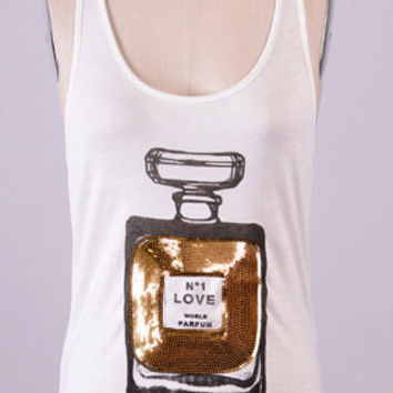 White  Perfume bottle sequined Chanel Inspired Logo Print  Scent Bottle Tank Top T-shirt Racer Back