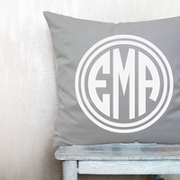 Monogrammed pillow cover Christmas pillow monogrammed pillow monogram pillow decorative throw pillows cover throw pillow 16x16 inches pillow