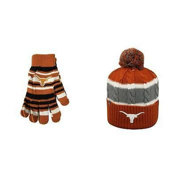 Licensed NCAA Texas Longhorns Glove Solid Knit And Windy Beanie Hat 2 Pack 48543 KO_19_1