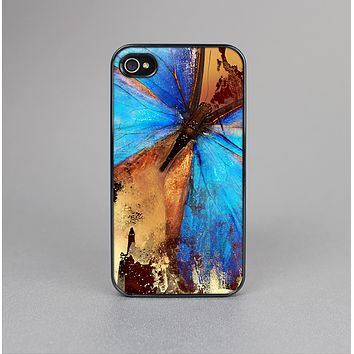 The Bright Blue Butterfly on Grunge Gold Surface Skin-Sert for the Apple iPhone 4-4s Skin-Sert Case