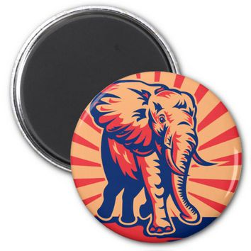 african bull elephant charging attacking retro 2 inch round magnet