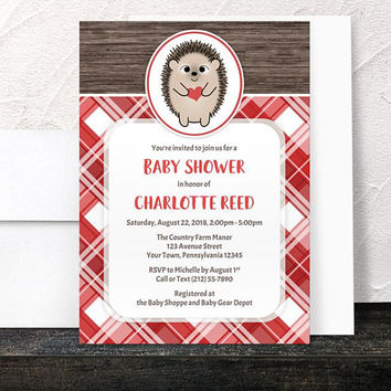 Hedgehog Heart Baby Shower Invitations - Cute Rustic Wood with Red Plaid - Girl or Boy, Gender Neutral  - Printed Invitations