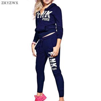 2 piece set women 2018 new long sleeve sweatsuit hooded sweatshirts top