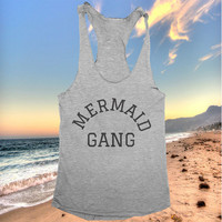 mermaid gang racerback tank top yoga gym fitness workout fashion fresh top women ladies funny style summer beach party tumblr