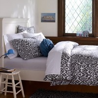 Urban Ikat Organic Duvet Cover + Pillowcases, Grey