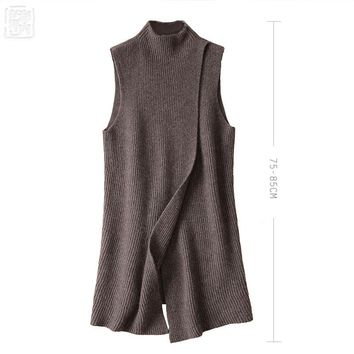 Women's  Angora Cashmere High O-neck Long Vest Front Deep Slit Female Sweater Dress Women's Sleeveless Fashion Autumn Winter 17
