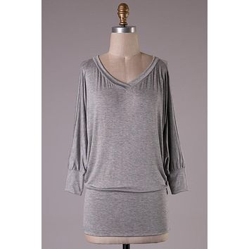 Banded Bottom Dolman Sleeved Top - Gray
