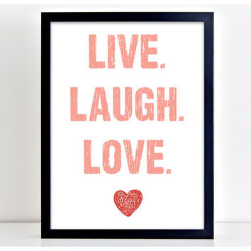Live Laugh Love - Motivate Word Art Print Kitchen Quote Motivation Wall Sign Letters Home Decor  PP13