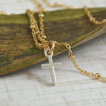 Gold and Silver Cross Necklace - Gold Satellite Chain with Petite Silver Cross Necklace - Modern and Minimalist Jewelry