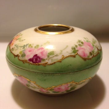 Antique A K France Limoges Hair Receiver Hand Painted Porcelain 1890s - 1910