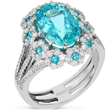"Simon G. Oval Cut Paraiba Tourmaline Halo Diamond ""Flower"" Ring"