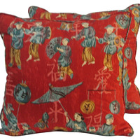 Red Chinoiserie Pillows, Pair