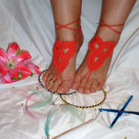 10% discount with coupon code SLAVENA bAREFOOT SANDALS , Crochet Red Sandals Chic Nude Summer Shoes, Bohemian Foot Jewelry, Hippie Beach